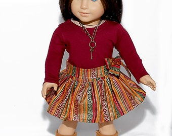 American made Girl Doll Clothing, 18 inch Doll Clothing, Burgundy Top, Circle Skirt made to fit like American girl doll clothes