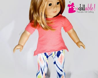 American made Girl Doll Clothes, 18 inch Doll Clothing, Asymmetrical top & Tribal Capris, made to fit like American Girl Doll Clothes