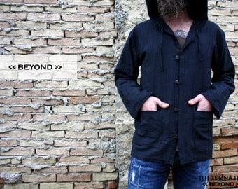 Black khadi winter jacket with hoodie for men, cotton jacket, primitive clothing, black men coat