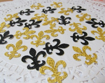 Mardi Gras Fleur de Lis die cuts- Beautiful New Orleans Colors-Gold-Black Glittered - Cardmaking- Fat Tuesday - Confetti-Decor
