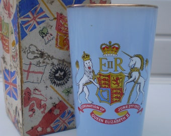 Queen Elizabeth II - Coronation 2nd June 1953 - Blue Glass with Gold Rim - District Council of Hindley - England