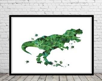 T Rex, Tyrannosaurus Rex, dinosaur watercolor, animal painting, watercolor T-rex, T-rex print, animal art, Dinosaur, Dinosaur art (2782b)