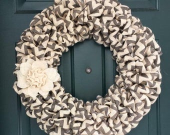Grey Chevron Wreath