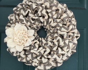 Small Grey Chevron Wreath