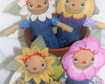 Flower Rag Dolls Wearing Denim Overalls