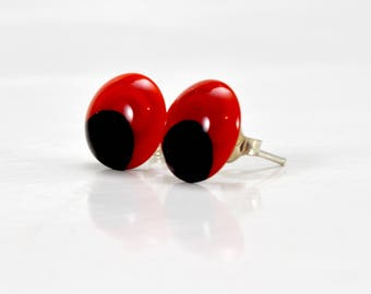 Button earring / / MURANO / / Huayruro / / silver / / handcrafted