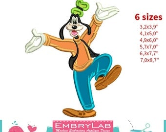 Applique Goofy. Mickey Mouse and Friends. Machine Embroidery Applique Design (16301)