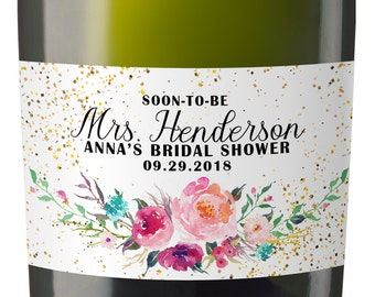 Mini Champagne Bottle Labels for Bridal Shower, Bridal Shower Mini Champagne Bottle Labels, Custom Champagne Label MN#33