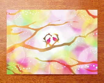 Love Card, Bird Greeting Card, Heart Greeting Card,Framed Art