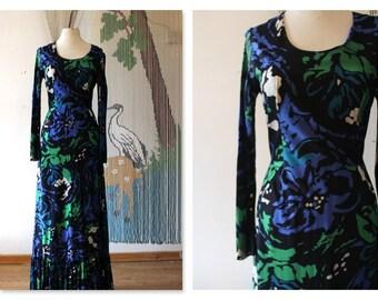 Boho Chic Deep blue floral 70's hippie maxi dress