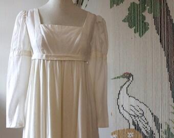 White Cotton 70's prairie boho folk maxi dress