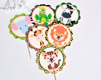 Safari Baby Shower, Safari Cupcake, Safari Centerpiece, Safari Decor, Jungle Circle Cake Toppers