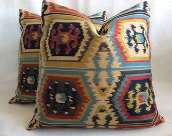 Bold Kilim Style Designer Pillow Covers - Multi-Colored Turkish Design - 2pc Set - 19x19 Covers