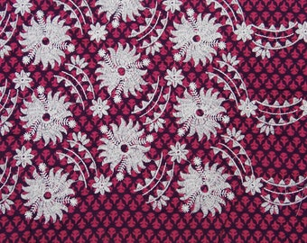 "Floral Embroidery, Purple Fabric, Dress Material, Quilting Fabric, Upholstery Fabric, 41"" Inch Cotton Fabric By The Yard ZBC7710A"