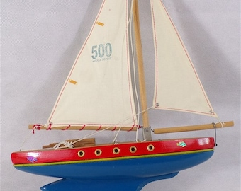 Vintage wood and canvas toy sailboat boat old mock Christmas gift gift child vintage France vintagefr