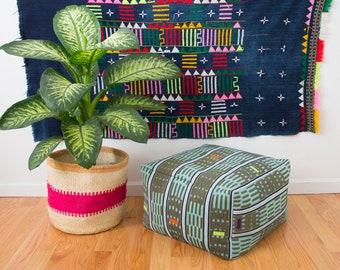 Vintage African Baule Cloth Floor Pouf
