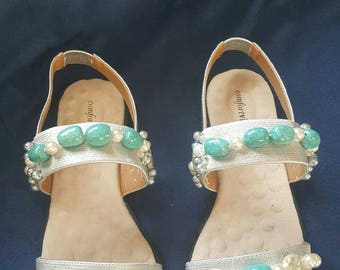 Turquoise sandals size 10w