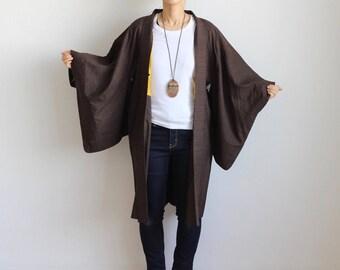 middle length kimono, dark brown haori, Japanese kimono jacket, cotton jacket /1362