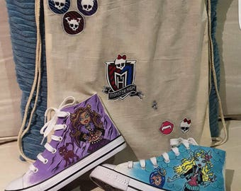 Monster High Hand-painted boots and tote back bag