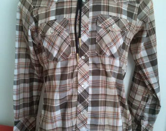 70s check plaid western l/s shirt size S