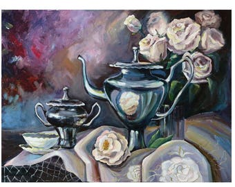 Still life painting with White Rose, Painting walls, Flower painting canvas, Original art Large paintings Flowers art Oil painting Roses art