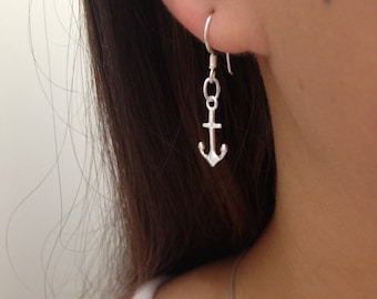 Sterling Silver anchor Earrings, silver anchor earrings, Anchor Earrings jewelry, Lightweight Earrings, nautical jewelry, Anchor Earrings