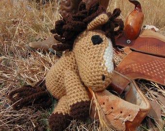 Gus, crocheted brown horse