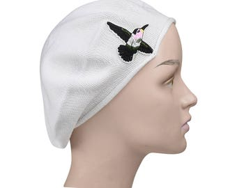Ladies White Beret Hat a Hummingbird Applique Stylish Fashionable Comfortable Cotton Womens Hat Cute French Beret