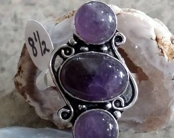 Three Stone Amethyst Ring Size 8 1/2