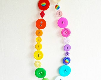 rainbow button bunting