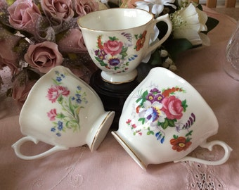 3 Royal Albert Orphaned Cups with colourful floral pattern