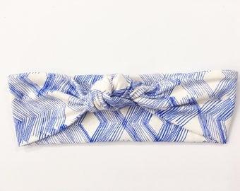 Blue Diamond Top Knot Headband / Knotted Headband / Baby Turban / Baby Gift / Toddler Headband / Macie and Me / Adult Headband