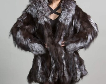 Luxury gift/ Fox Fur Coat Silver all sizes/ Wedding,or anniversary present