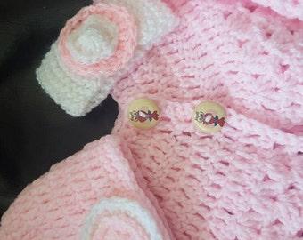 Hand crochet cardigan, hat and hairband set