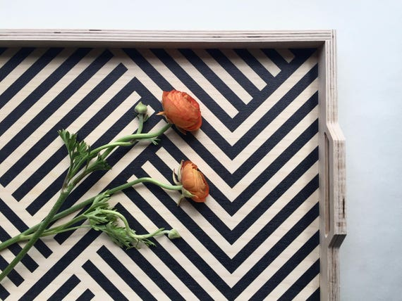 Large wood tray with sides and handles | Black Mazes Lines pattern