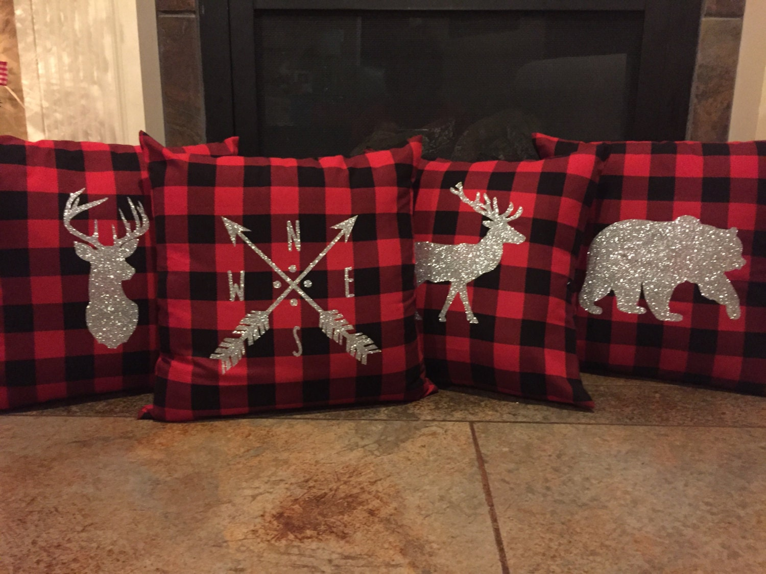 Set Of 4 Buffalo Plaid Pillow Covers With Deer Elk Bear And