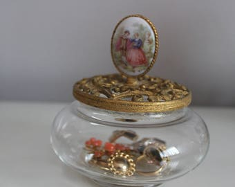 Vintage Gold Glass Jewelry Case