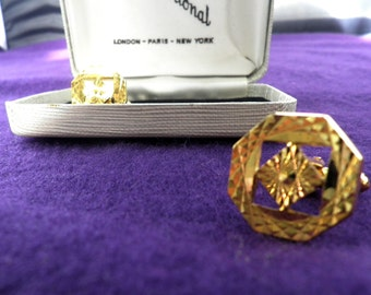 1960s Diamond Cut Gold Tone Cufflinks