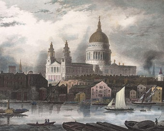 1850's Meyer's Hand Colored Steel Engraving ~ St. Paul's Cathedral in London