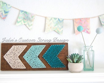 MADE TO ORDER Ombre, Chevron, String Art, Wood Sign, aqua, colorful, customized