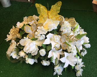 All white and Gold Heavenly Butterfly memorial spray - cemetery saddle