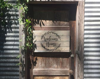 Welcome Home Carved Wooden Pallet Sign - Rustic Welcome Sign - Rustic Home