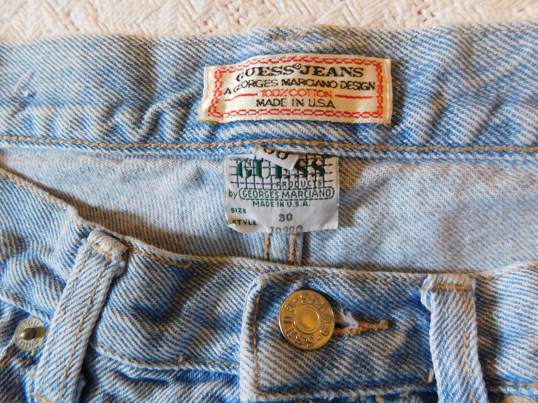 Vintage Mens Guess Jean Shorts Highwaist USA Made Light Blue Denim Unisex 30x11 JgAePJm