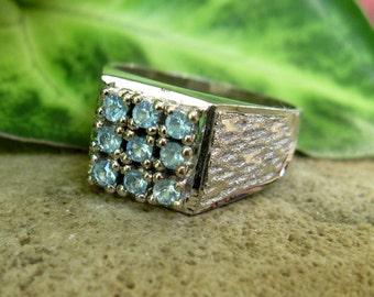 Sterling Silver Aqua Stone Set 1970's Ring