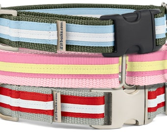 Layered Ribbon Martingale Collar, Martingale Buckle Collar, Striped Puppy Collar, Collars For Dogs, Martingale Dog Collar, M02
