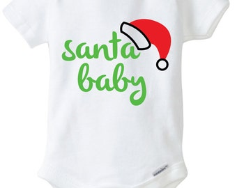 Santa Baby Onesie Design, SVG, DXF, EPS Vector files for use with Cricut or Silhouette Vinyl Cutting Machines