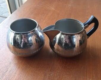 Decorative Silver Milk Jug & Sugar Bowl