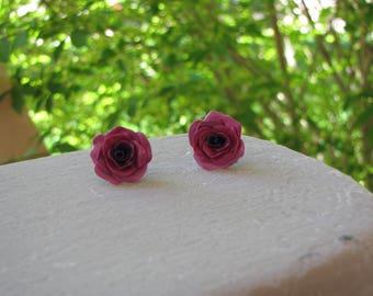 Purple Rose Stud Earrings