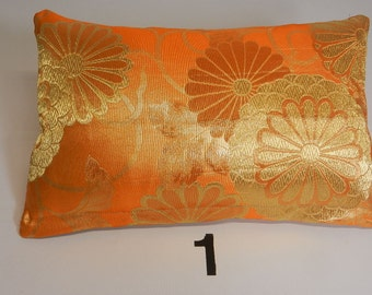 "Silk and Metallic Thread Japanese Obi Pillows, 10"" by 15"""