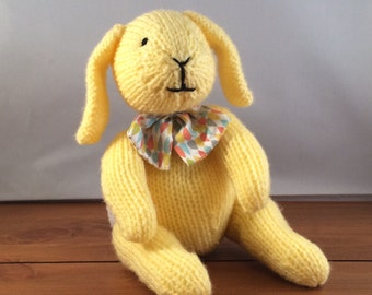 Bunny, knitted bunny rabbit, knitted rabbit, yellow bunny, UK seller